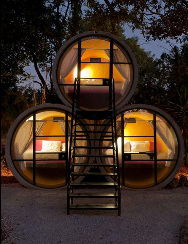 The Tubohotel is made from recycled drainage pipes.