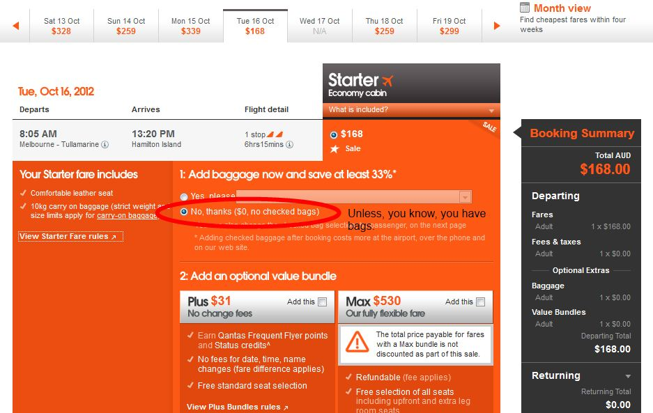 Avoid paying for Extras on Jetstar Flights
