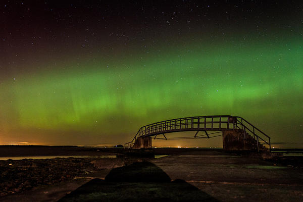 Stunning view of the Northern Lights from the East Coast of Scotland